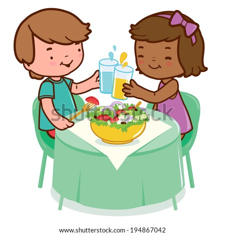 Children eating at a restaurant. Two children sitting at the table enjoy eating a healthy salad and drinking water and juice. Vector version also available in my gallery. - stock photo