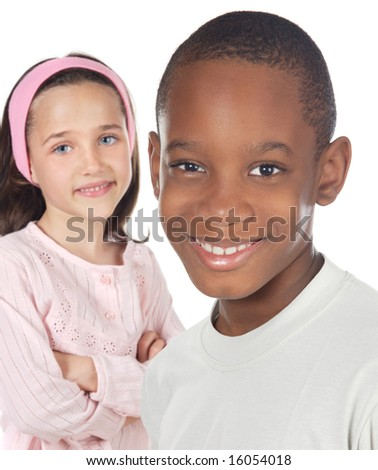 Children friends - a over white background - - stock photo