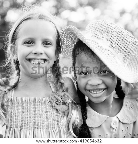 Children Friendship Playful Togetherness Happiness Concept - stock photo