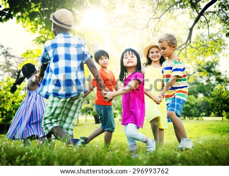 Children Friendship Togetherness Game Happiness Concept - stock photo