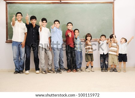 Children generations sizes growing up - stock photo