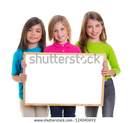 children group kid girls holding blank white board copy space - stock photo