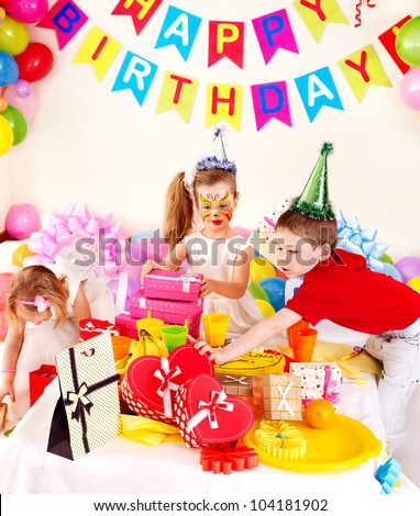Children happy birthday party .