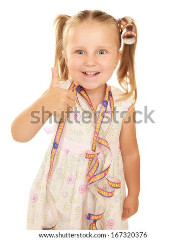 Children happy birthday party , showing ok, isolated on white background - stock photo