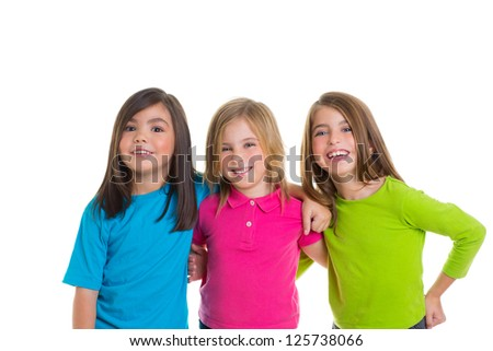 children happy girl friends group smiling hug together isolated on white background - stock photo
