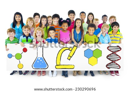 Children Holding Billboard with Education Concepts - stock photo