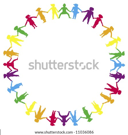 children holding hands in a circle - stock photo