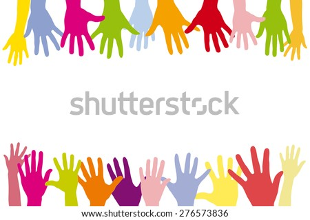 Children holding many colorful hands in a row as a background - stock photo