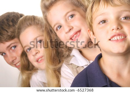 children in a line - stock photo
