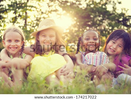 Children in a park - stock photo