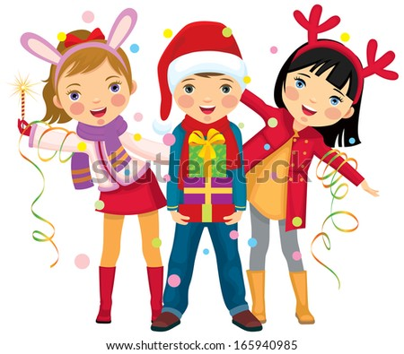 Children in carnival costumes Christmas/Childrens Christmas party a surprise/Children make merry at  sc 1 st  Shutterstock & Children Carnival Costumes Christmas Childrens Christmas Party Stock ...