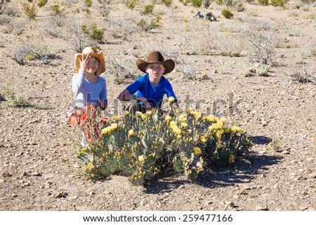 Children in cowboy hats sitting in front of a flowering Tulip prickly pear (Opuntia phaeacantha). Big Bend National Park, Texas - stock photo