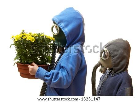 Children in gas masks - stock photo