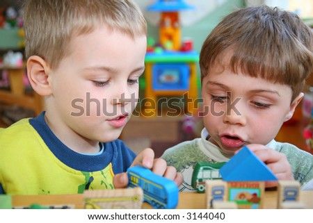 children in kindergarten - stock photo