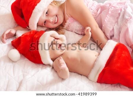children in red hat - stock photo