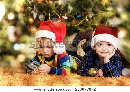 children in santa hat - stock photo