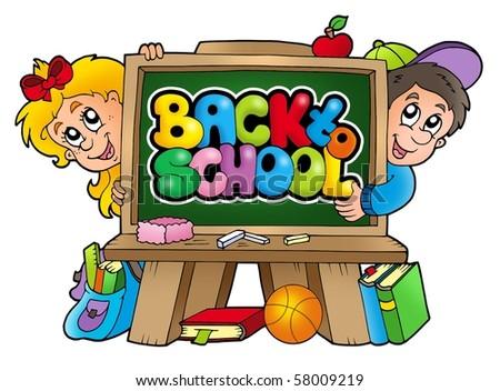 Children in school 3 - color illustration. - stock photo