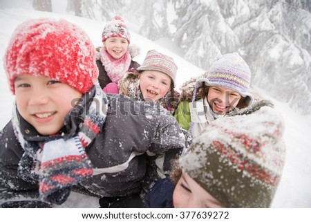 Children in the snow - stock photo