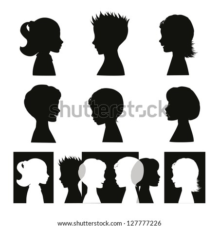 Children. Isolated silhouettes and banner - stock photo