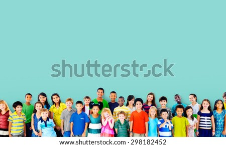 Children Kids Childhood Friendship Happiness Diversity Concept - stock photo