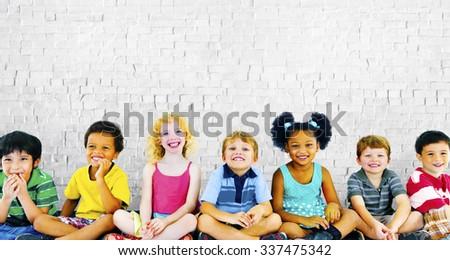 Children Kids Happiness Multiethnic Group Cheerful Concept - stock photo