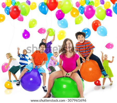 Children Kids Playing Happiness Cheerful Playful Concept - stock photo