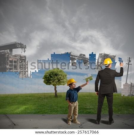 Children learn from adults to improve world - stock photo