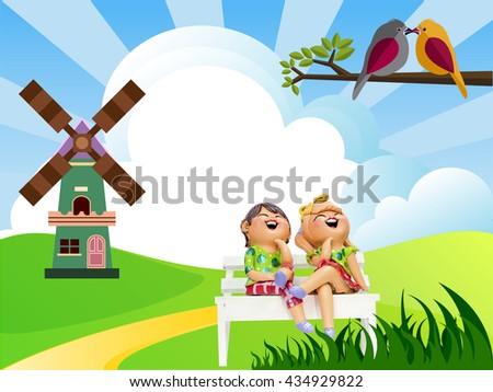 Children living open grasslands and Birds. - stock photo