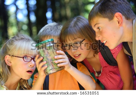 Children looking at bug in jar - stock photo