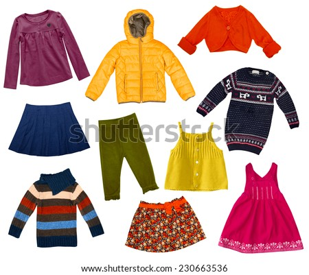 Children modern clothes collage.Female kid's set of clothing. - stock photo