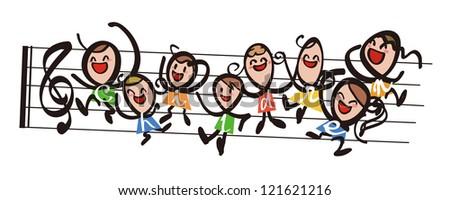 Children - music - stock photo