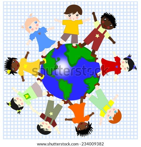 Children of different races are on the green planet on a background of notebook sheet - stock photo