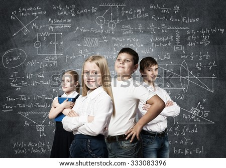 Children of school age trying different professions - stock photo
