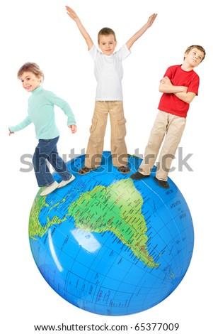 children on big inflatable globe collage - stock photo