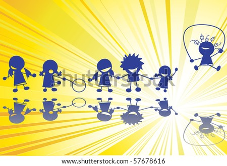Children outline silhouettes over sun rays background - stock photo