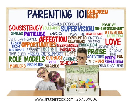 Children Parenting 101 Children Need: Love, Attention, Hugs, Discipline, Manners, Patience, Activities, Exercise, Nutrition, Health Care, Supervision, Encouragement, Safe Environment, Home, Parents - stock photo