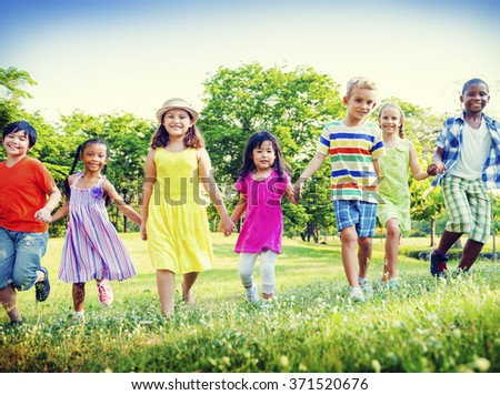Children Park Friends Friendliness Happiness Playful Concept - stock photo