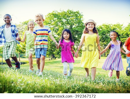 Children Park Friends Friendness Happiness Playful Concept - stock photo