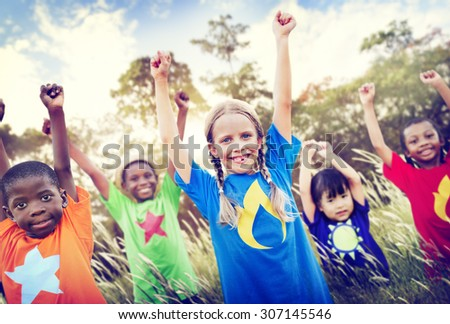Children Playful Friendship Friends Child Concept - stock photo