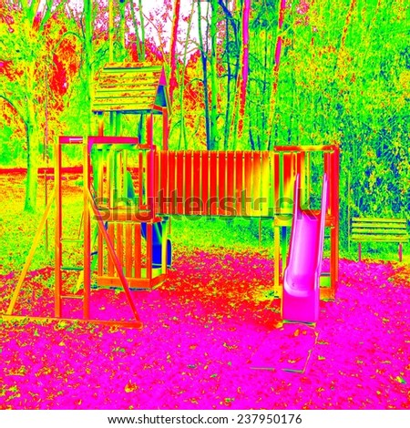 Children playground in amazing thermography colors. Wooden equipment for children plays, gym, entertaimen. - stock photo