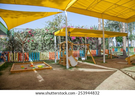 Children playground in the shadow under the tent in Egypt. Protection from the sun. & Children Playground Shadow Under Tent Egypt Stock Photo 253944832 ...