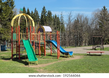 Children Playground in the spring Park, nobody - stock photo