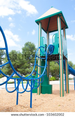 Children playground with blue sky, Child and play concept