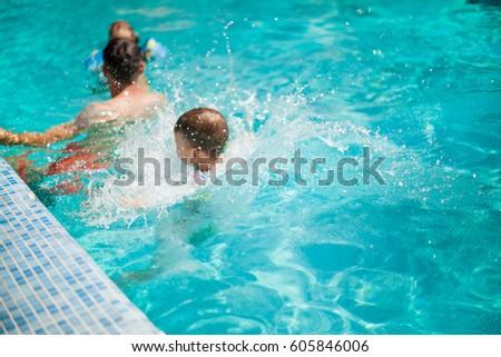 Pool Water Splash indian kids in swimming pool stock images, royalty-free images