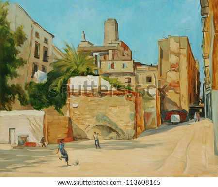 children playing football in a court yard,  illustration, painting