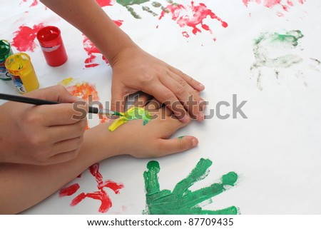 Children playing hand painted