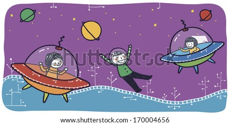 Children playing happily in space.