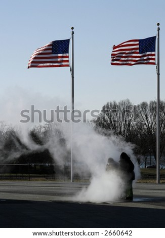 Children Playing in Steam at the Washington Monument - stock photo