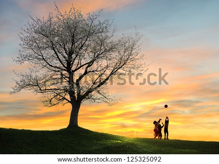 Children playing on beautiful meadow with ball around the tree - stock photo