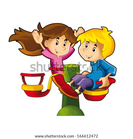 Children playing on the carousel - illustration for the children - stock photo